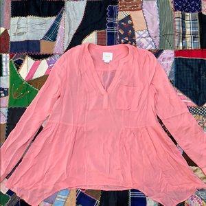 Anthropologie Mauve Pink Draped Blouse